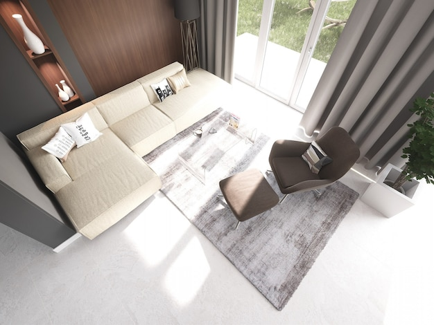 Sala de estar amueblada en 3d