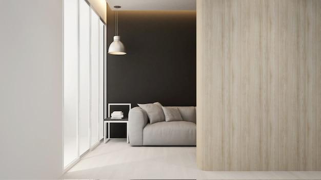 Sala de estar en apartamento u hotel, renderi 3d interior