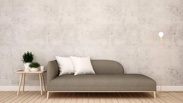 Sala de estar en apartamento u hotel - representación 3d
