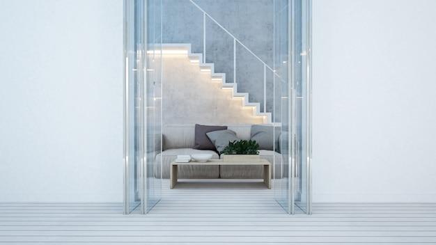 Sala de estar y balcón en tono blanco en casa o departamento. Foto Premium