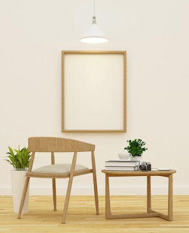 Sala de estar y biblioteca en diseño limpio de cafetería - representación 3d