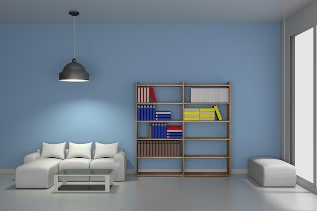 Sala de estar con biblioteca moderna