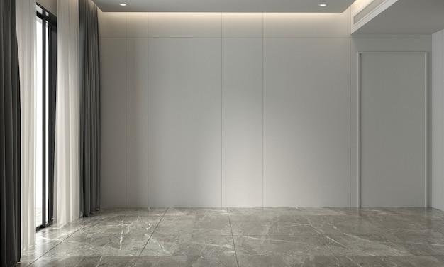 Sala de estar blanca vacía moderna y diseño de interiores de fondo de textura de pared representación 3d