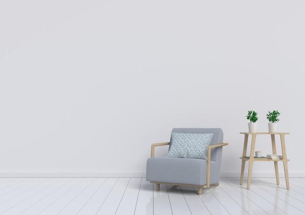 Sala de estar con la butaca y la planta grises en el fondo blanco de la pared. representación 3d.