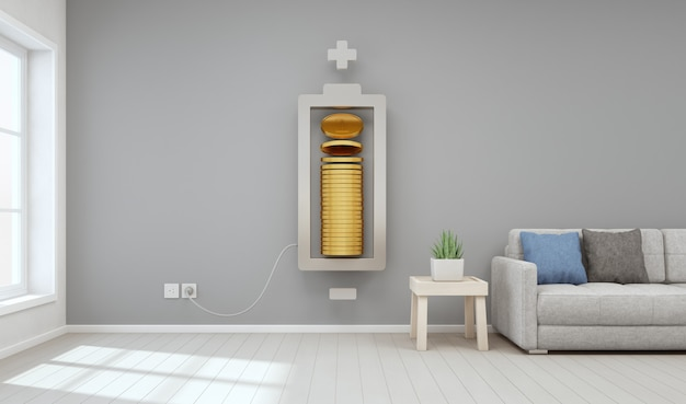 Sala de estar de la casa moderna con monedas de oro en inversión inmobiliaria y concepto de crecimiento empresarial.