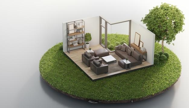 Sala de estar cerca de un gran árbol en tierra pequeña con hierba verde en concepto de venta de bienes raíces o inversión inmobiliaria.