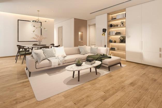 Sala de estar clásica de madera de renderizado 3d con baldosas de mármol y estantería