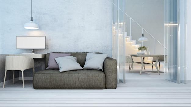 Sala de estar y comedor en el apartamento o en el hogar - representación 3d