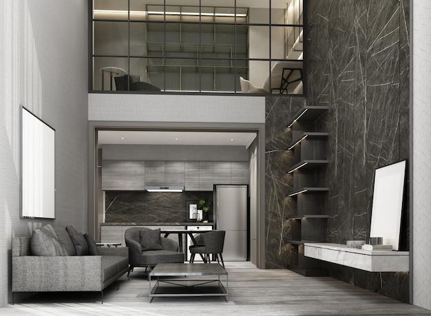 Sala de estar y comedor de doble espacio con piso de madera y pared de patrón de mármol que decora el área de trabajo del entresuelo renderizado 3d interior
