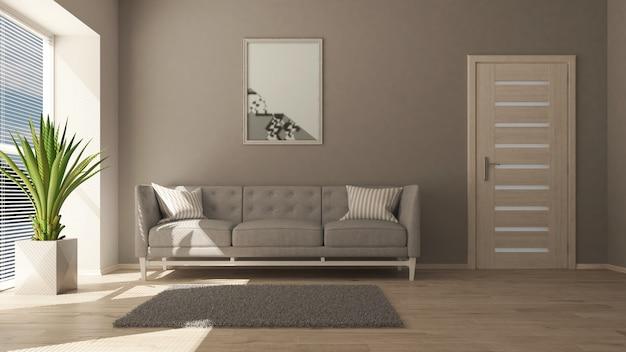 Sala de estar contemporánea 3d y muebles modernos.