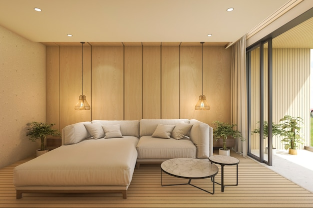 Sala de estar contemporánea 3d con sofá cerca de la terraza