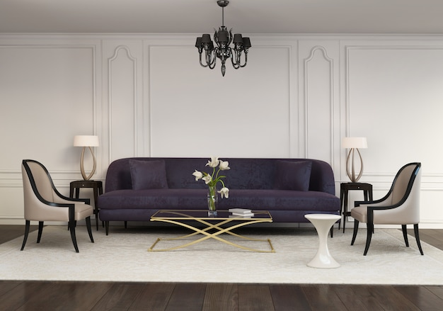 Sala de estar contemporánea elegante contemporánea