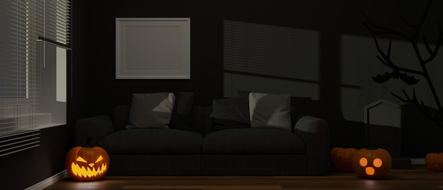 Sala de estar decorada con adornos de halloween con lámparas de calabaza y velas en el piso representación 3d