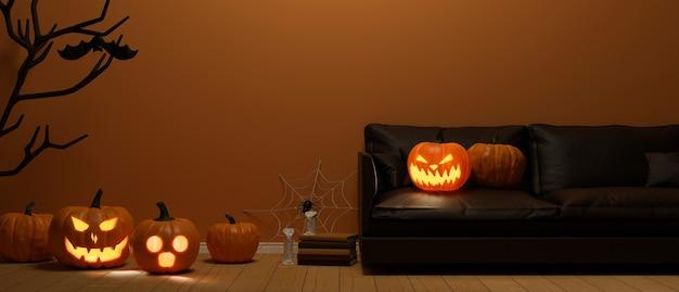 Sala de estar decorada con lámparas de calabaza y decoraciones de concepto de halloween 3d rendering 3d illustration
