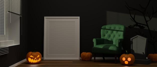 Sala de estar decorada con marco de maqueta y cosas aterradoras en concepto de halloween 3d rendering ilustración 3d