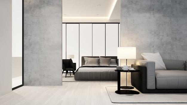 Sala de estar y dormitorio en apartamento u hotel - diseño de interiores
