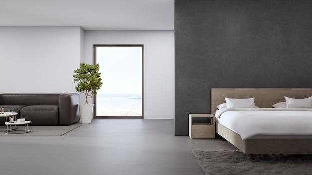 Sala de estar y dormitorio con vista al mar de una lujosa casa de playa de verano