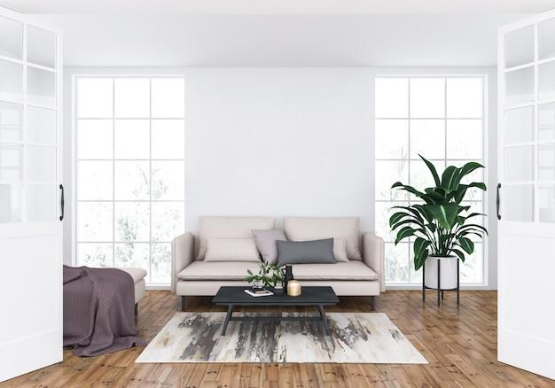 Sala de estar escandinava con pared en blanco, exhibición de arte