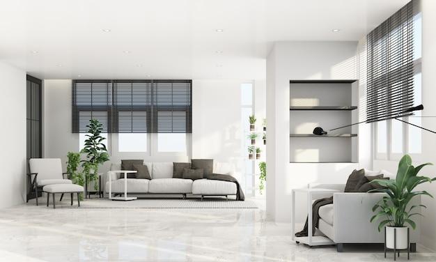 Sala de estar en estilo moderno y contemporáneo con marco de ventana de madera y transparente con muebles de tono gris, renderizado 3d