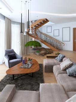 Sala de estar con un gran sofá de esquina de tela en un estilo contemporáneo y escalera de caracol de diseño que conduce al segundo piso