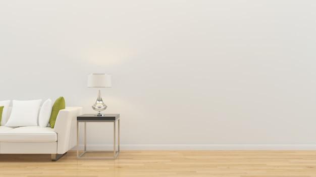 Sala de estar interior 3d render sofá lámpara de mesa piso de madera plantilla de pared de madera