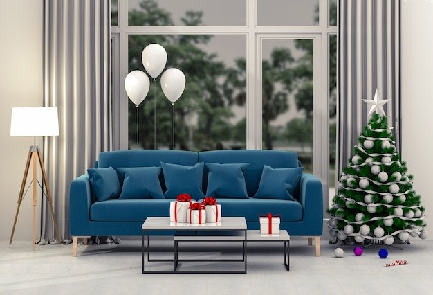 Sala de estar interior de la navidad con un árbol de navidad.