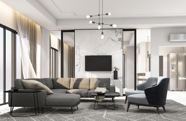 Sala de estar interior en representación 3d de estilo moderno y lujoso