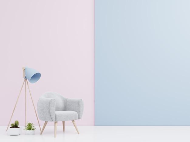Sala de estar interior con sillón de terciopelo, estante, lámpara con libros en una colorida variedad de pared
