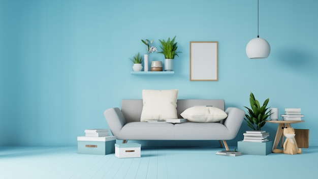 Sala de estar interior con sofá y sillón blanco colorido en representación 3d