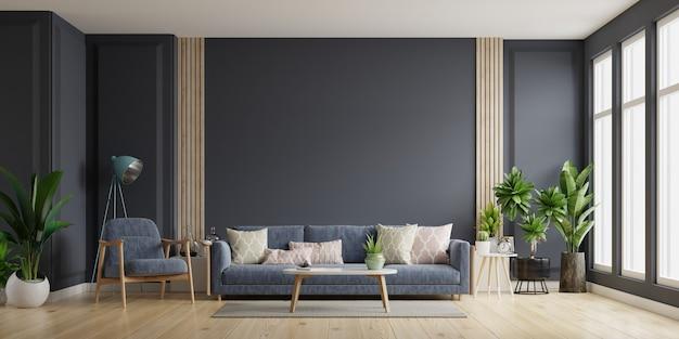 Sala de estar interior con sofá y sillón en la pared oscura vacía, representación 3d