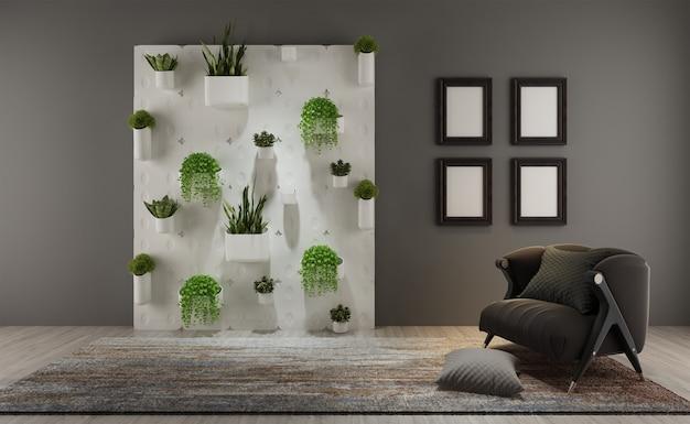Una sala de estar con jardín vertical en la pared.
