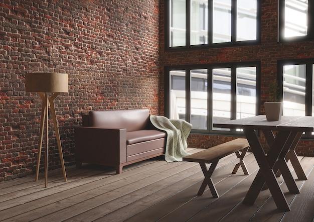 Sala de estar loft minimalista en estilo industrial