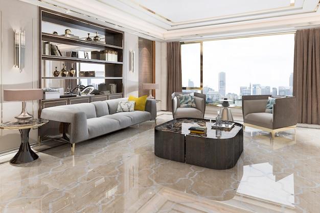 Sala de estar de lujo de loft de representación 3d con estantería