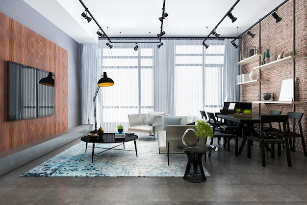 Sala de estar de lujo de renderizado 3d con estante y decoración de piano y ladrillo