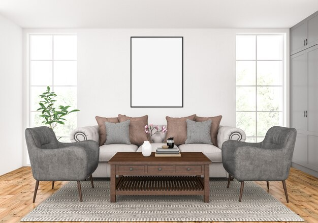 Sala de estar con marco vertical vacío, exhibición de arte