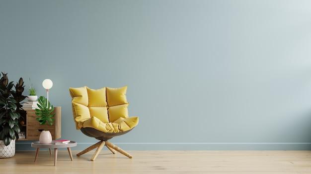Sala de estar con mesa de madera y sillón amarillo sobre fondo de pared azul claro vacío, representación 3d