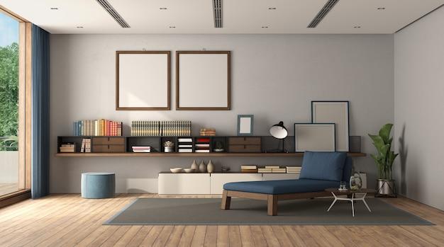 Sala de estar minimalista con aparador y chaise lounge.