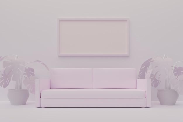 Sala de estar minimalista blanca con sofá y marco grande, maqueta. ilustración 3d