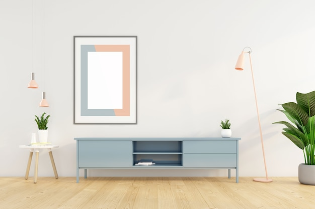 Sala de estar minimalista con mueble de tv en la pared blanca y marco de imagen. representación 3d