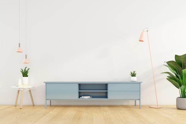 Sala de estar minimalista con mueble de tv en la pared blanca. representación 3d