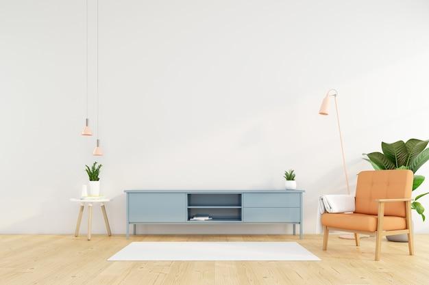 Sala de estar minimalista con mueble de tv en la pared blanca y sillón naranja. representación 3d