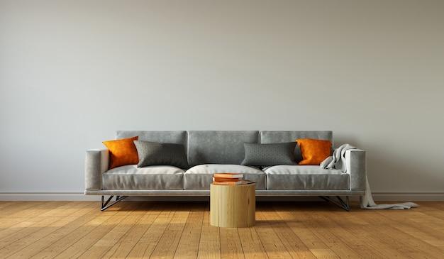 Sala de estar minimalista con sofá gris y almohadas naranjas sobre fondo de pared gris, representación 3d