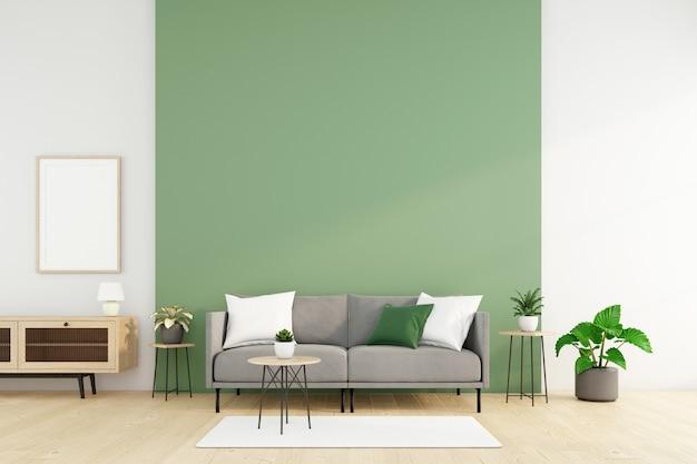 Sala de estar minimalista con sofá y mesilla, pared verde y planta verde. representación 3d