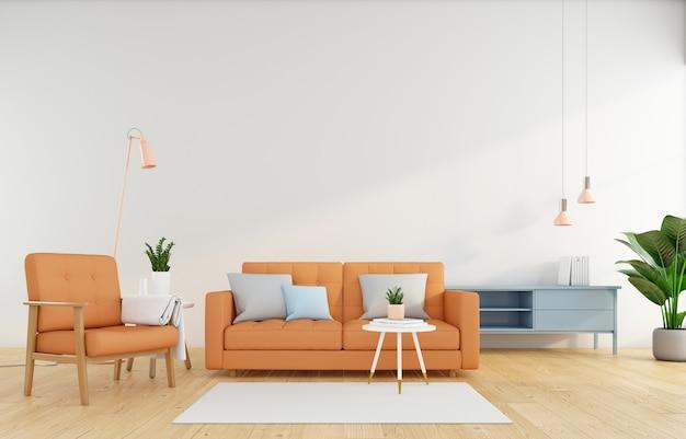 Sala de estar minimalista con sofá naranja en la pared blanca y sillón naranja representación 3d