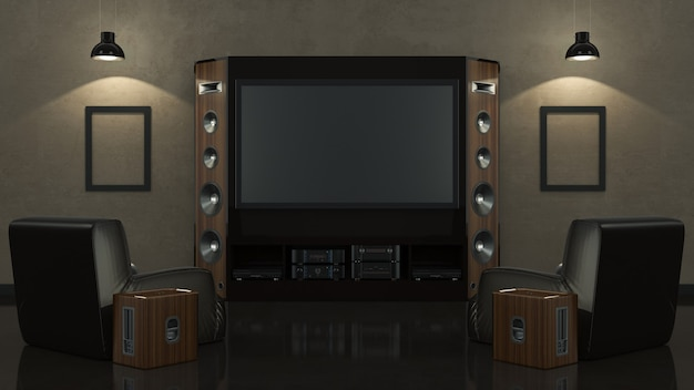 Sala de estar moderna con cine en casa