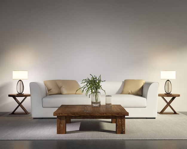 Sala de estar moderna y moderna con sistema de pared