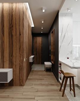 Sala de estar moderna con pasillo y cocina-comedor