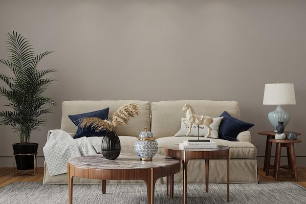 Sala de estar moderna con sofá y almohada
