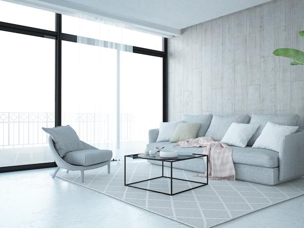 Sala de estar moderna con ventana grande y pared de madera