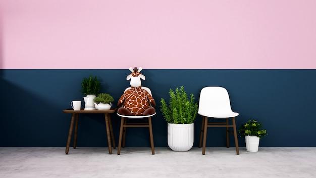 Sala de estar con pared azul oscuro y pared rosa en la sala de estar